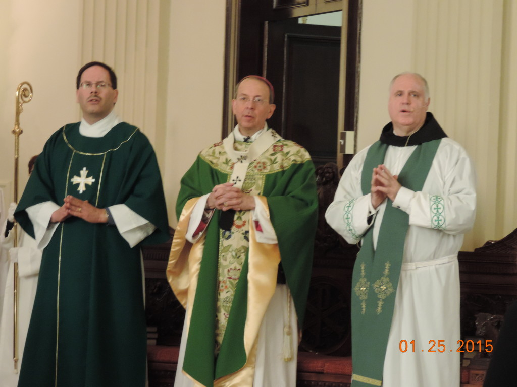 Archbishop Lori & Fr. Grumsey Pastor at St Casimir 1-25-15